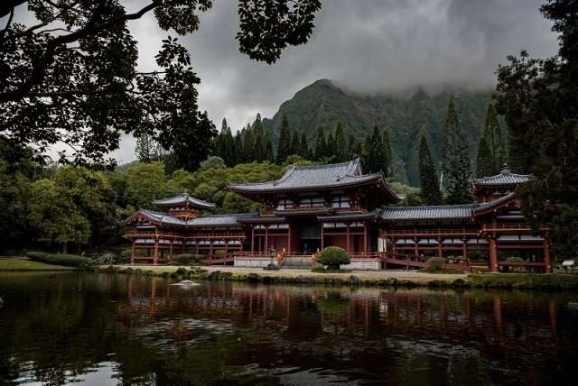 zen temple in nature