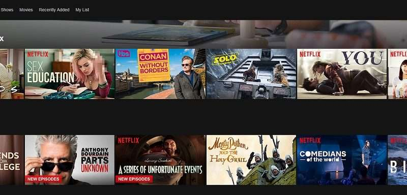 netflix home screen desktop
