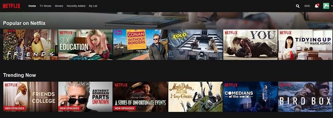 netflix home screen desktop