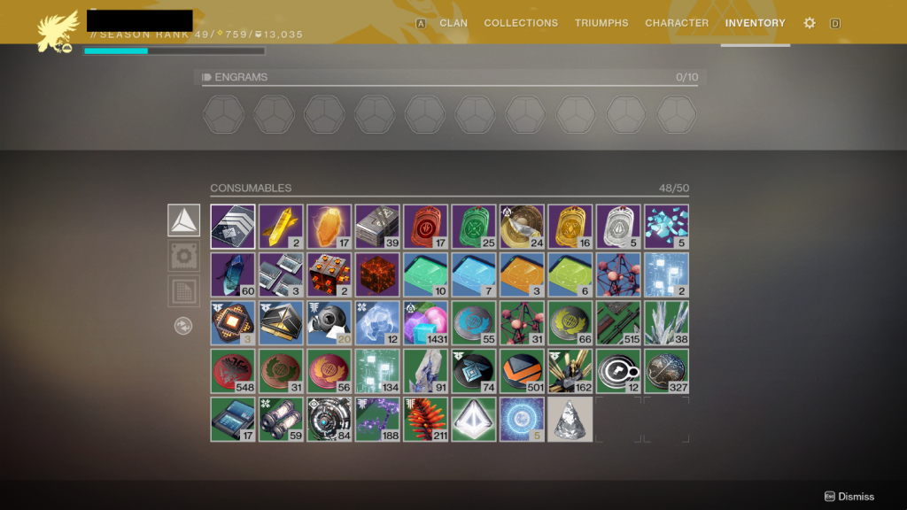 account wide items destiny 2