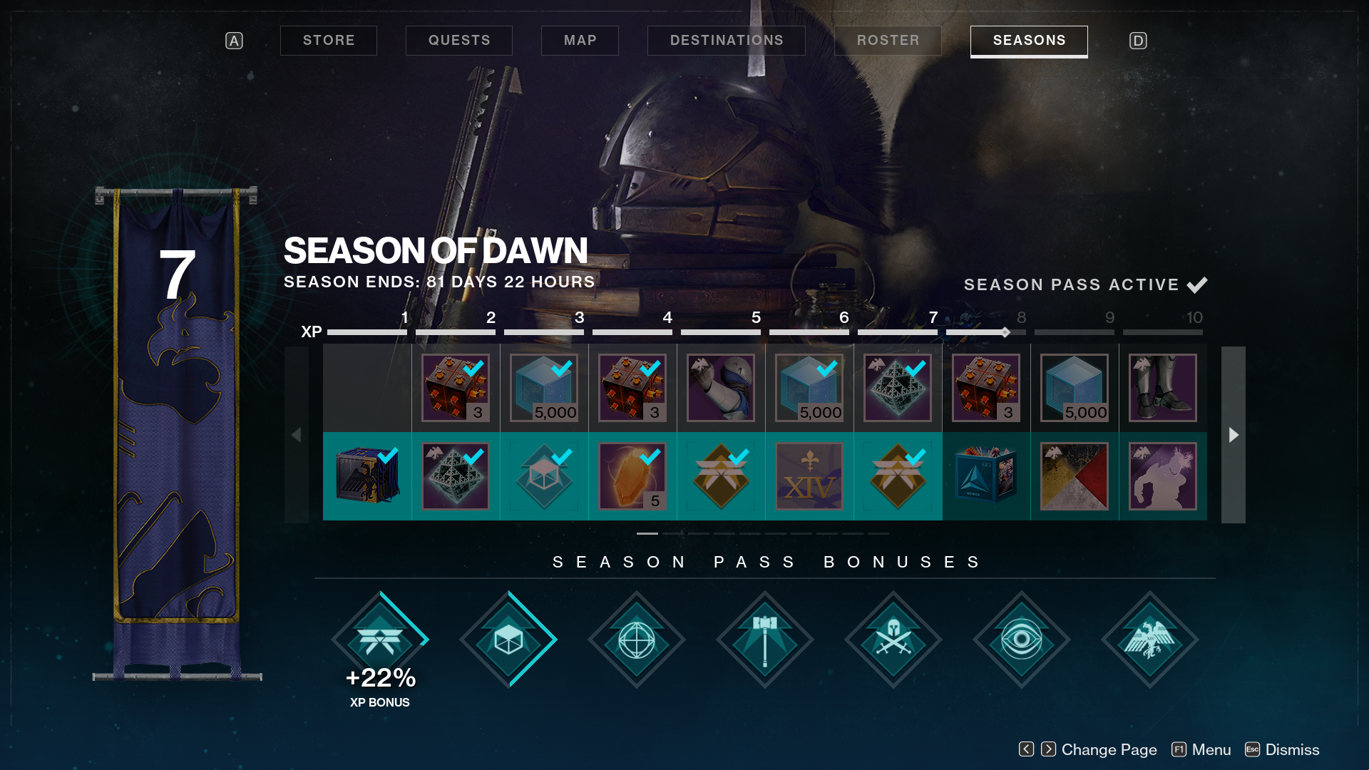 season of dawn reward track