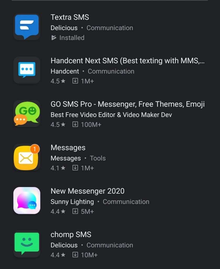 sms app search google play store